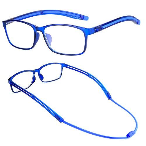 NEWVISION®,Occhiali Calamita Anti Luce Blu per Computer, Montatura Leggera TR90,Aste Regolabile, Occhiali Premontati da Lettura per Unisex,Lenti Antiriflesso,PC,NV5858 (+2.50, Blue)