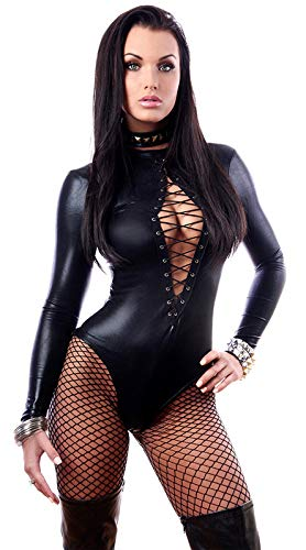 GuoZh Hohl M-Xlsexy Leder Einteilige Dessous Lederbekleidung Nachtclub Bar Damen Pole Dance Damenbekleidung,M