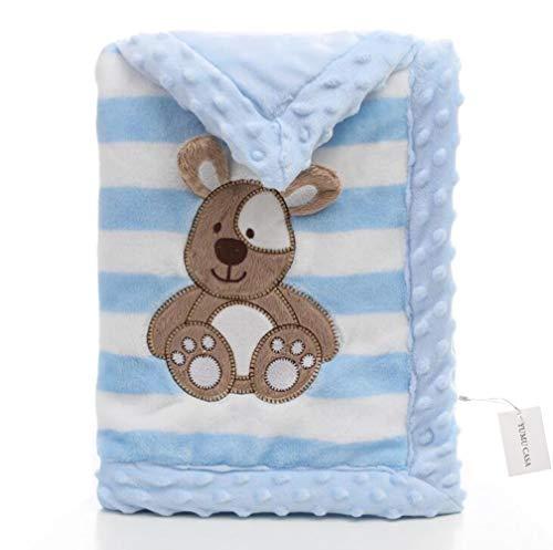 Yumu casa - Manta de franela gruesa para bebé, doble capa, suave, diseño de dibujos animados para recién nacidos, Franela, azul, 100*150cm/39.4*59.1 inch