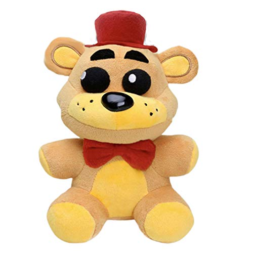 """10"""" FNAF Golden Freddy Plush, Fazbear Toys Five Night at Freddy Golden Bear Red Hat Christmas Gift, Limited Quantity Stuffed Dolls FNAF Plushies"""