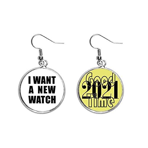 I Want A New Watch Art Deco Regalo Pendientes de moda Pendientes Pendientes Pendientes Joyería 2021 Buena Suerte