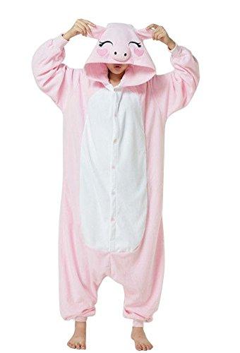 Canberries® Erwachsene Pyjama Tieroutfit Schlafanzug Tier Onesies Rosa Schwein Sleepsuit mit Kapuze Unisex Overall Halloween Kostüm Jumpsuit (S, Rosa Schwein)