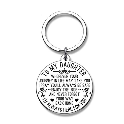 To My Daughter Keychain Gifts Graduation Key Charm for Daughter in Law Stepdaughter Girls Teen We Pray You'll Always be Safe Enjoy the Ride and Never Forget Your Way Back Home from Mom Dad