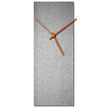 Modern Wall Clock  Silversmith Clock Large Orange  Mid-Century Silver Home/Kitchen Decor - Minimalist Silent Sweep Hands
