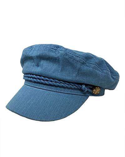The Hatter Women's 100% Cotton Herringbone Fisherman Sailor Captain Cap (Blue)