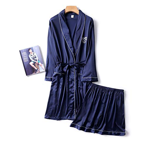 DUJUN Morgenmantel Kimono mit Taschen Bademantel Satin Kurz Robe Nachthemd,Seide Herren weich und glatt Navy XXL