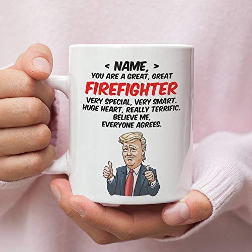 Lplpol Regalo personalizado para bombero, bombero Trump, regalo divertido de cumpleaños, bombero, regalo de bombero, regalo divertido para bombero, regalo de 11 onzas
