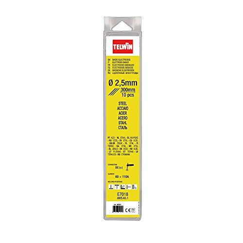 Telwin 802621 Elettrodi Basici per Saldatura D. 2.5 mm, 0.1 V, Grigio, 2.5 blister, Set di 10 Pezzi