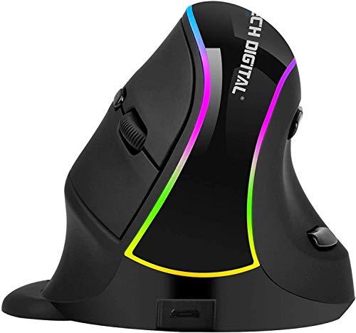 Mouse verticale wireless, mouse ottico ergonomico ricaricabile 800-1200-1600-3200 DPI Luce RGB con supporto per i polsi staccabile (non per i giochi) - Riduce il dolore alla mano / al polso