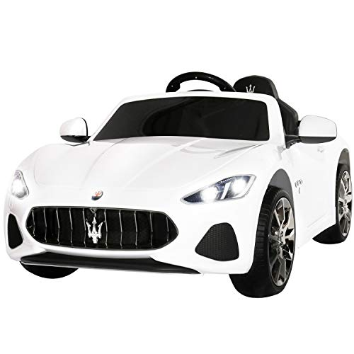 Uenjoy Maserati GranCabrio 12V Electric Kids Ride On Cars Motorized Vehicles with RC Remote Control, Wheels Suspension, MP3 Player, Lights, White