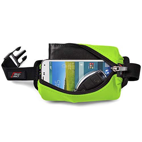 flexi-gurt grün - Dehnbare Bauch-Tasche, Flexible Gürtel-Tasche, Running-Belt, Startnummern-Band für Sport, Laufen, Joggen, Freizeit, Reisen, ideal für Wertsachen, Smartphone, Sportnahrung