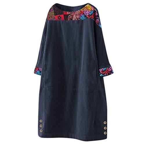 LOPILY Winterkleid Damen Vintage Hippie Blumendruck Tunika Kleid aus Cord Locker Strickkleid Damen Große Größen Skaterkleid Oversize für Mollige...