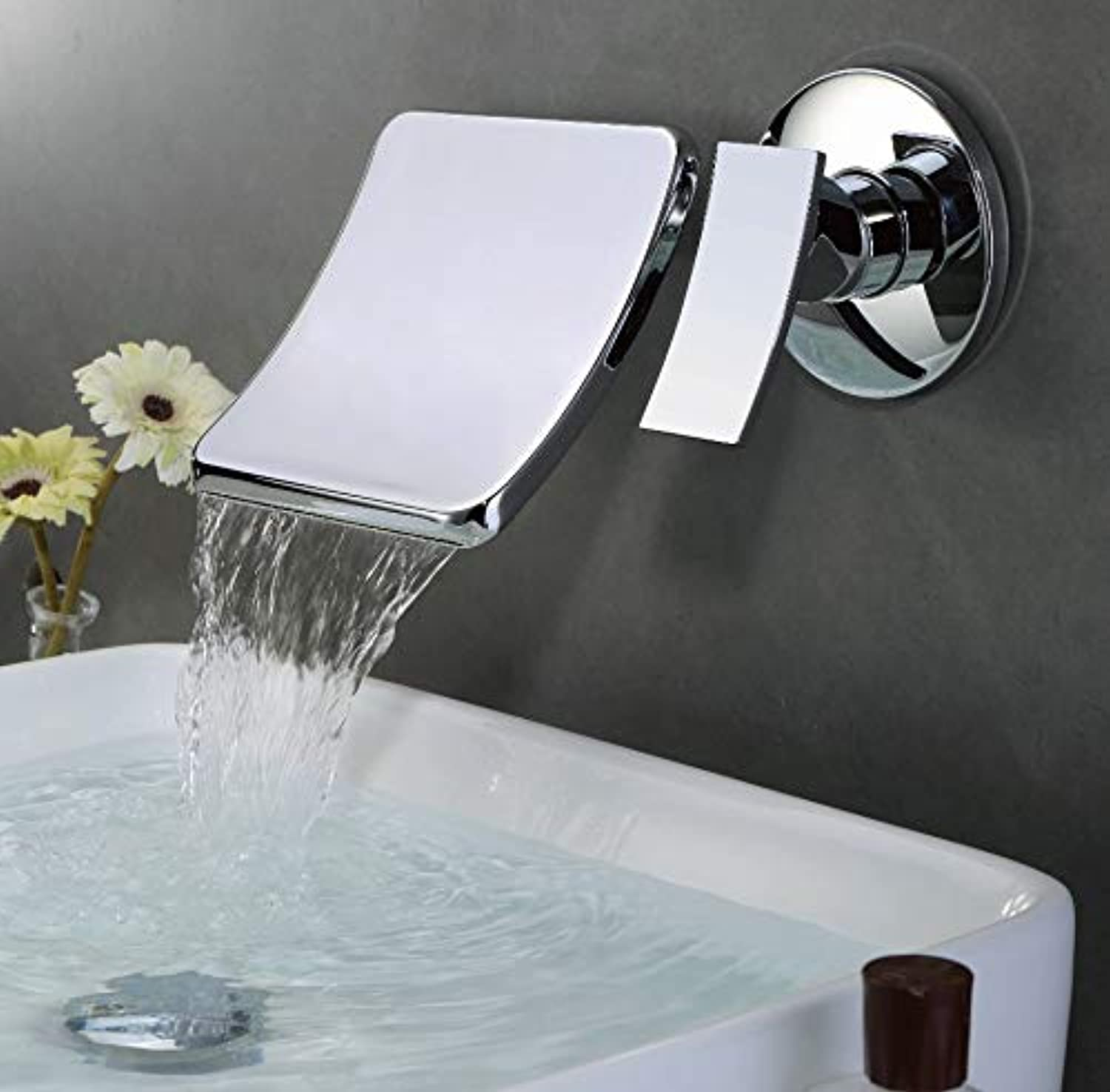 Wall-Mounted Bathtub Faucet Waterfall Single Treatment 2 Hole Basin with Large Spout Hot and Cold Water Mixing Faucet