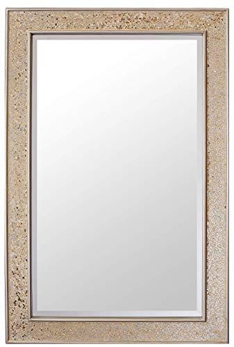 Glamour by Casa Chic Grand Miroir rectangulaire Doré Mosaïque - Salle de Bain, Salon ou Chambre - Grand Miroir Moderne 90 x 60 cm - Or Brillant
