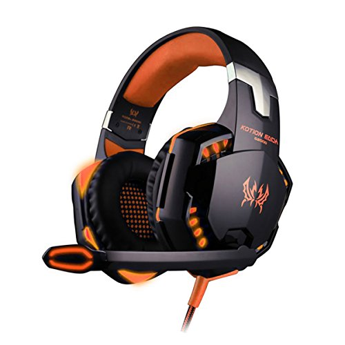 Gamer Fone De Ouvido Kotion Each G2000 Headset Led Microfone Ps4 Xbox Notebook Pc Mac, Preto E Laranja