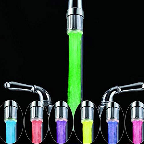 Rubinetto per acqua LED colorato da 2 pezzi con 7 colori che cambiano, RC-F03 Rubinetto per rubinetto a flusso d'acqua per cucina e bagni.