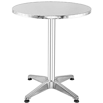 "Hromee Bistro Bar Table 23.5"" Aluminum Square Tabletop for Indoor Outdoor Silver"
