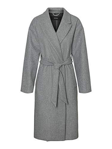 VERO MODA Damen VMFORTUNE Long Jacket PI Mantel, Light Grey Melange, XS