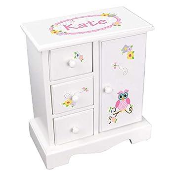 MyBambino Personalized Girls Jewelry Armoire Chest Box Pink Calico Owl Design