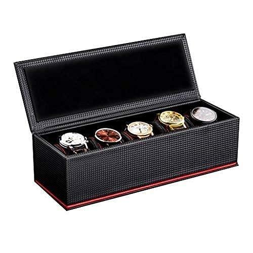 FGVBC Caricatore Automatico dell'orologio, Scatola portaoggetti per Donna Scatola portaoggetti 5 Slot in Fibra di Carbonio Design Display Case Display Happy Life