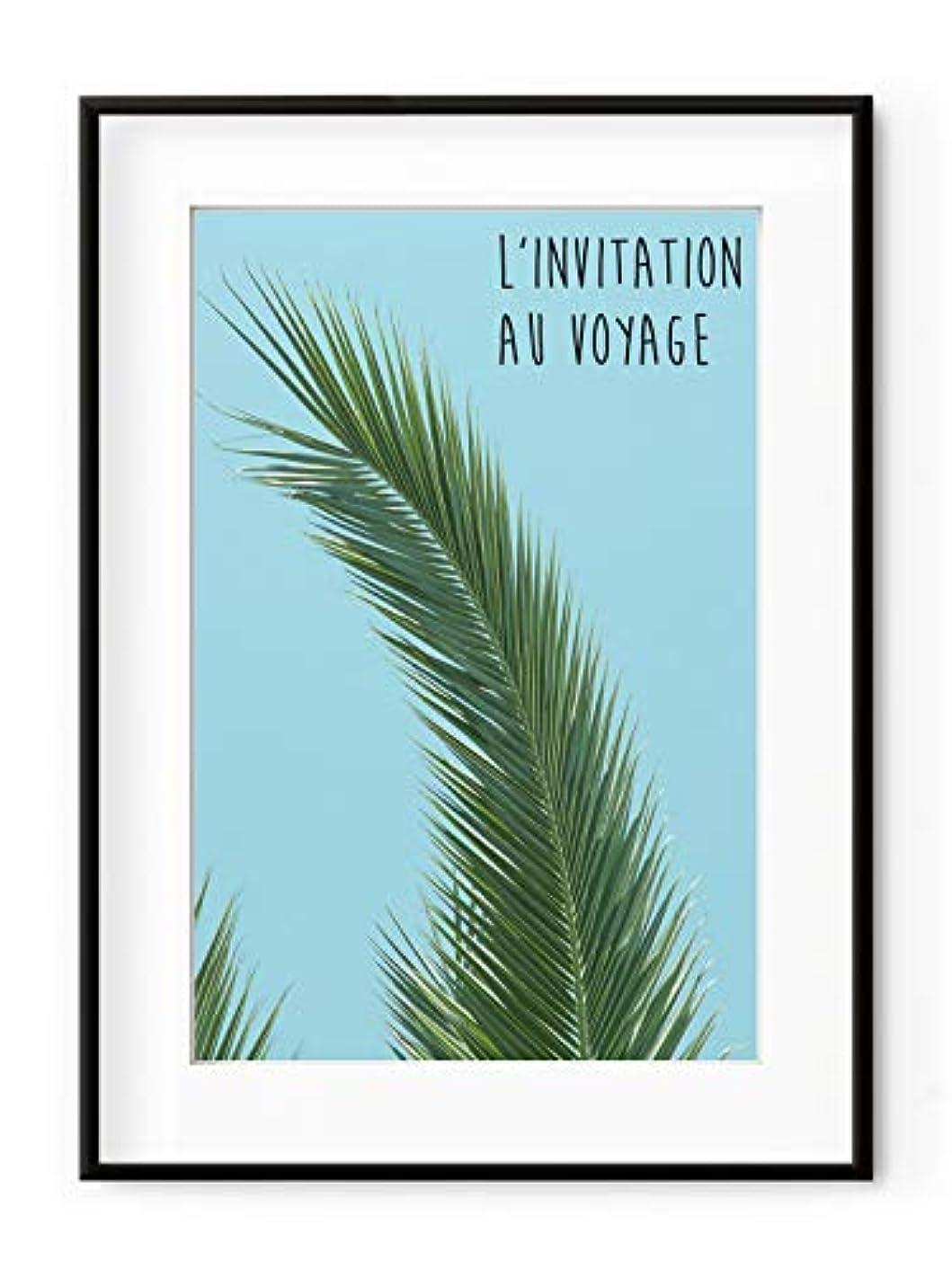Invitation to Travel, Black Satin Aluminium Frame, with Mount, Multicolored, 70x100
