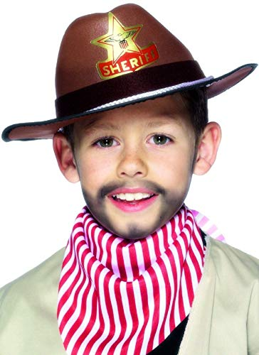 Filles Enfants Garçons Marron Sheriff Cowboy Western Accessoire Déguisement Chapeau