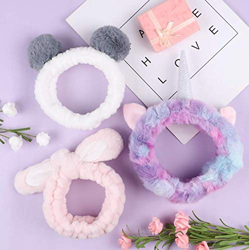 Tacobear 3PCS Make Up Haarband Stirnband Einhorn Panda Hase Haarband Kosmetik für Frauen Damen Make Up Mädchen Spa Dusche Gesichtsreinigung Gesichtspflege Haarband