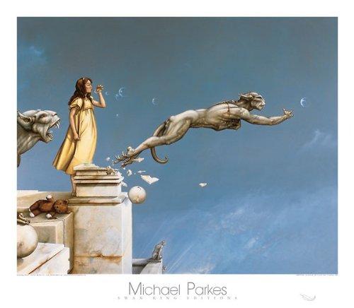 Gargoyles Michael Parkes Fantasy Print Poster, Overall Size: 31.5x27.5, Image Size: 28.5x23