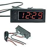 Car Temperature Clock - Car Clock 12V 3 in 1 Thermometers Voltmeter Gauge Electronic Clock LED Digital Display LCD Screen