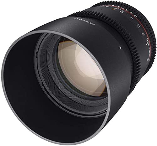Samyang F1313003101 - Objetivo para vídeo VDSLR para Nikon F (Distancia Focal Fija 85mm, Apertura T1.5-22 AS IF UMC II, diámetro Filtro: 72mm), Negro