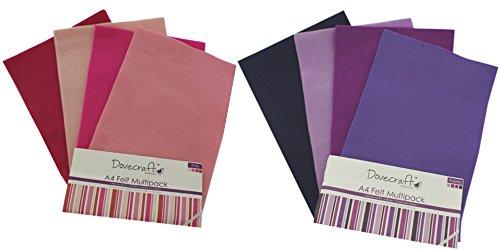 Dovecraft-Fogli di feltro, formato A4, 16 fogli & viola, rosa