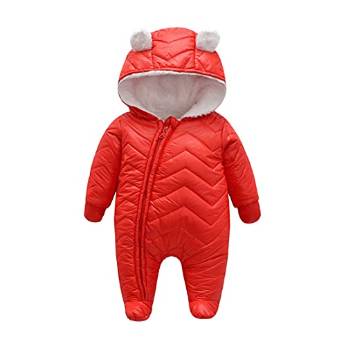 Unisex Baby Jumpsuit Solid Color Hoodie Fleece Rompers Zipper Snowsuit Long Sleeve One Piece Outwear, 80, Red, 12-18 Months