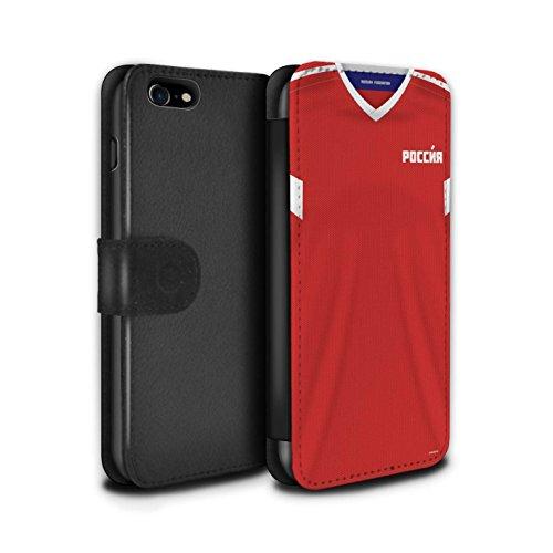 Telefoonhoesje Portemonnee voor Apple iPhone SE 2020 World Cup 2018 Voetbal Shirt Rusland/Russisch Ontwerp Flip Faux PU Lederen Cover Magnetische Sluiting Card Slots