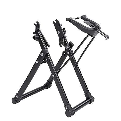 Cavalletto per Ruote per Bici, Supporto per Manutenzione Biciclette Pieghevole, Portabici per Biciclette Bicycle Wheel Centraruote Basamento di Manutenzione, Nero