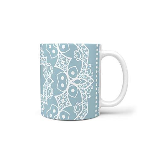 Lind88 11 Ounce Poeder Blauw Mandala Water Cocoa Bekers met Handvat Keramische Persoonlijke Beker - Jongens Mannen Geschenken, Geschikt voor Dorm gebruik