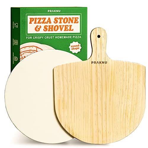 Pizzastein Rund und Pizzaschieber im 2er Set - Steinplatte mit 30 cm Ø - Pizzaschaufel aus ganzem Holz