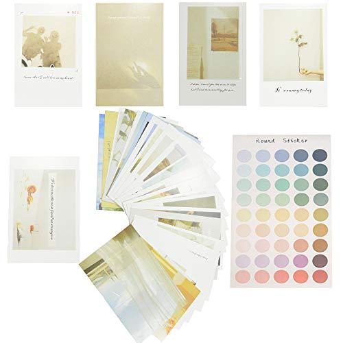 Ins ポストカード おしゃれ イラスト セット ステッカー付 韓国スタイル デザイン インテリア 写真の小道具 はがき 壁飾り30枚