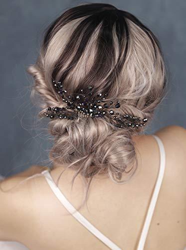 FXmimior Bridal Hair Accessories Black Hair Comb Gothic Wedding Hair Accessory Black Headpiece Evening Hair Adornment Prom Beaded Bridesmaid gift