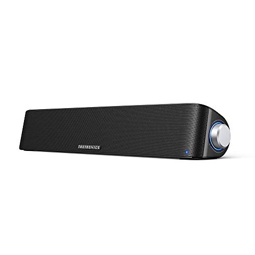 TaoTronics Computer Speaker, Bluetooth 5.0 Wireless PC Soundbar, Stereo USB Powered Sound Bar Speaker for Computer Laptop Smartphone Tablet Game Console, Aux Connection, Black (Renewed)
