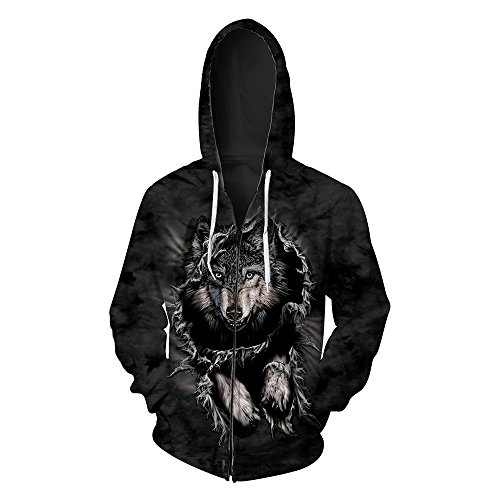 Men's Hooded 3D Digital Print Wild Wolf Pattern Zip-up Sports Outwear Cardigan Hoodies(2XL, Black)