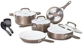 WearEver C944SA Pure Living Nonstick Ceramic Coating Scratch Resistant PTFE PFOA and Cadmium Free Dishwasher Safe Oven Safe Cookware Set, 10-Piece, Gold