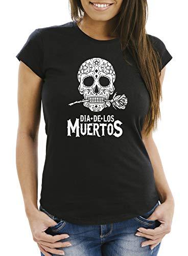 Neverless - Camiseta para mujer, diseño de calavera con flores Calavera de color negro. XXL