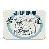 Etiqueta del vector para la decoración del judo, la práctica del tiburón felpudo de judo Alfombrillas decorativas para el hogar antideslizantes para la entrada Dormitorio Baño Cocina 23.6 'x15.7'