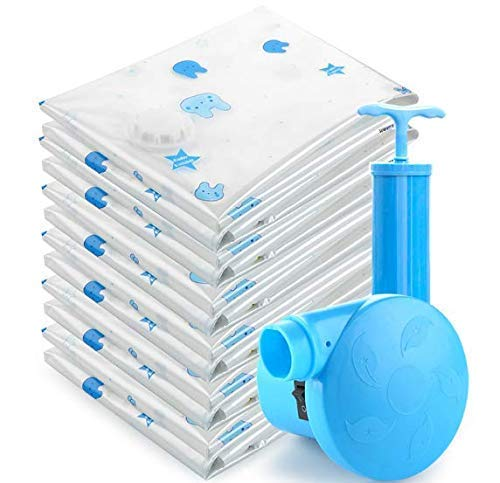 Premium Vacuum Storage Bags One Package of 10Pcs with Free Hand Pump Durable Space Saver Bags Best for Clothes, Bedding, Duvets, Towels, Curtains and Traveling