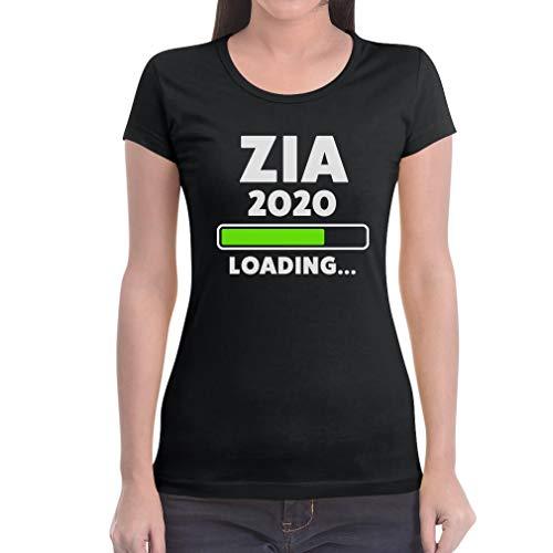 Zia 2020 Loading Idea Regalo per Le Future zie Maglietta da Donna Slim Fit Small Nero
