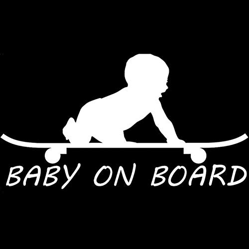 MCTYLI 18.3CM*9.9CM Baby BOY on Board Skateboard Vinyl Sticker Zwart/Zilver