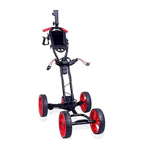 HLR Golftrolley Zieh Golfcarts Golf Cart 4-Rad Tragbare Leichtbau Trolley One-Click Auf- und Zuklappen Funktion Mit Regenschirm Clip/tragbares Handschlaufe