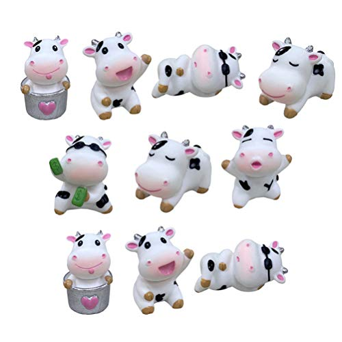 BESTOYARD 10pcs Mini Cow Figurine Animal Cake Toppers Kids Farm Animal Model Toys 2021 New Year Party Favors Doll House Fairy Garden Accessories