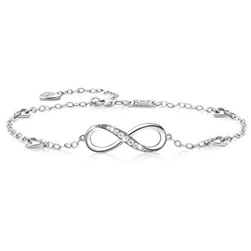 Billie Bijoux Infinity Unendlichkeit Symbol Damen Fußkettchen 925 Sterling Silber Zirkonia Armkette Verstellbar Charm Knöchel Armband (Silber)