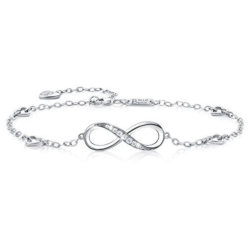 Billie Bijoux Womens 925 sterling Silver Infinity Endless Love Symbol Charm Adjustable Anklet Bracelet Christmas' Day Gift (A-silver)